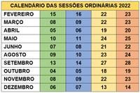 Calendário das Sessões Ordinárias 2021