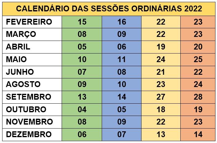 Calendário das Sessões Ordinárias 2019
